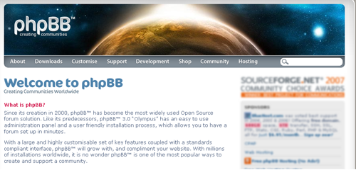 phpBB welcome page